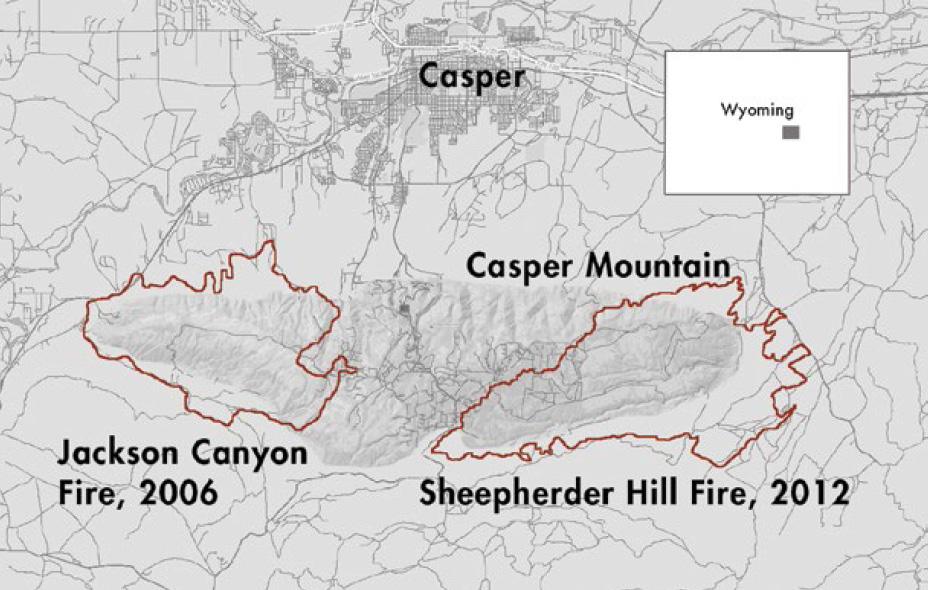 Large fires torched the ends of Casper Mountain in 2006 and 2012, leaving the tree- and house-covered middle unburned.
