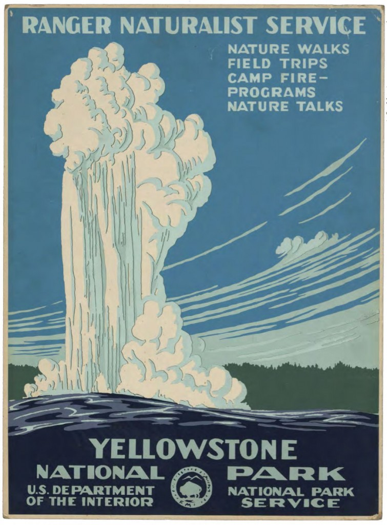 Poster advertising Yellowstone National Park, created circa 1938 as part of the Federal Art Project, a New Deal program to support American artists and designers.