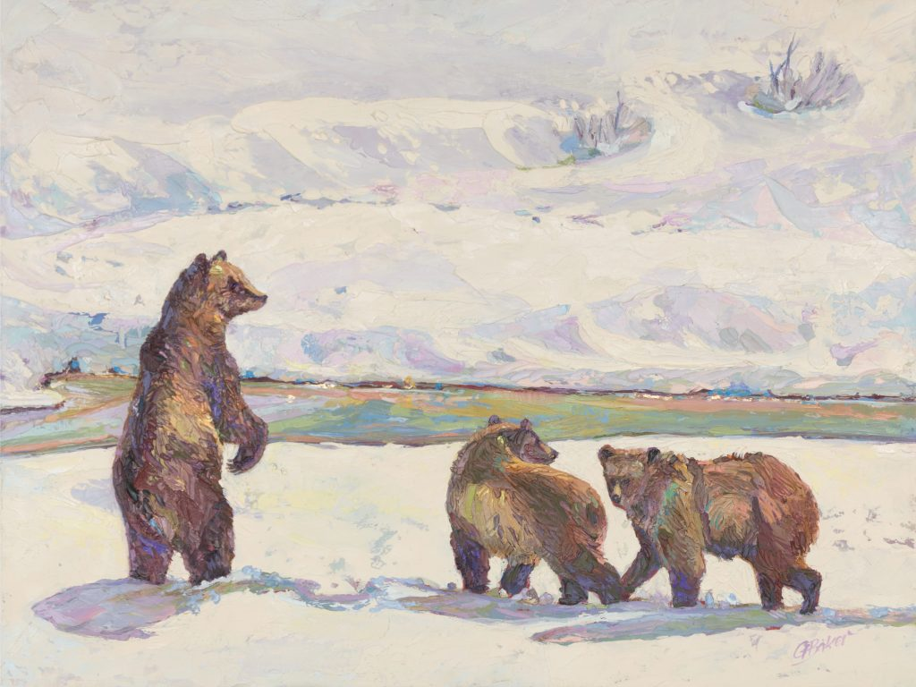 Painting of watchful mama bear standing in snow with two cubs
