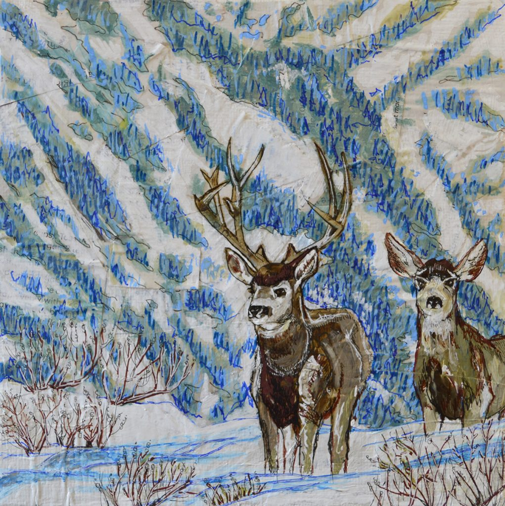 painting of deer in snow-covered hills