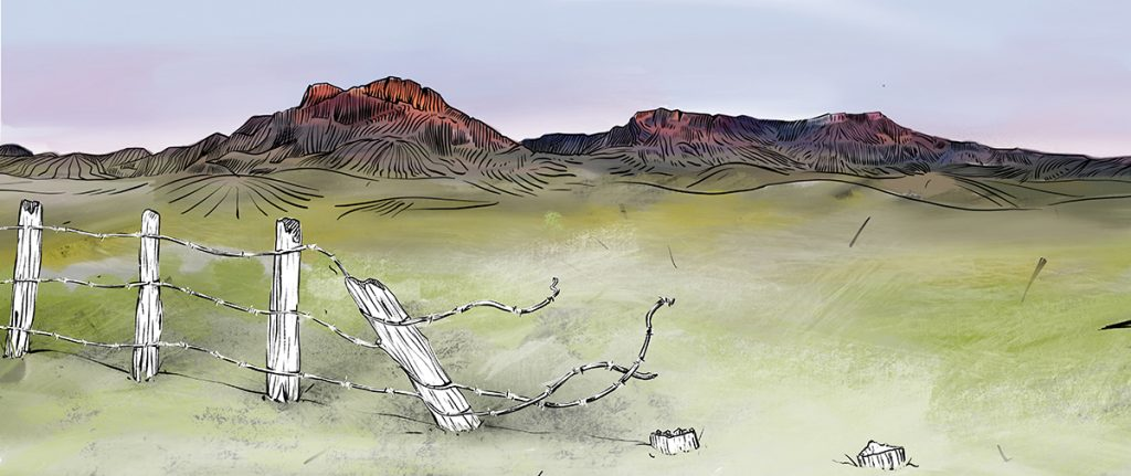 Broken fence with hills and buttes in background - watercolor painting